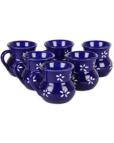 VarEesha Electric Blue Ceramic Cups Set of 6- Tableware/ Dinnerware/...