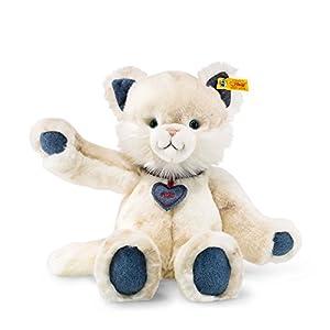 Steiff Denim Darlings Miau Gato de Juguete Felpa, Sintético Blanco - Juguetes de Peluche (Gato de Juguete, Blanco, Felpa, Sintético, Gato, Miau, Niño/niña)