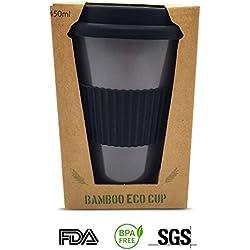 Taza de café de bambú reutilizable, ecológica, 450 ml, con tapa y funda de silicona reutilizable, respetuosa con el medio ambiente y biodegradable, reutilizable, taza de viaje (gris medianoche)
