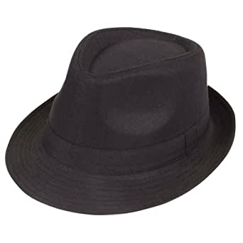 Black Fedora Plain Hat Outfit accessory for Gangster Fancy Dress