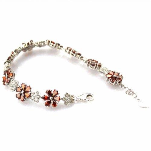 Ange en jade Link Fleur Bracelet en argent sterling avec Améthyste zircone cubique pierres couleur: violet rouge