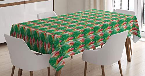 ABAKUHAUS Voliere Tischdecke, Floral Nest der Vögel, Druck mit Klaren Farben ohne Verblassen Waschbar für innen oder Außen Bereich, 140x170cm, Burnt Orange Multicolor -