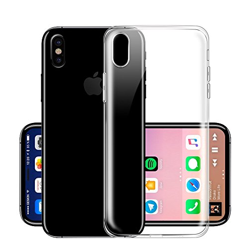 iPhone X coque - iHarbort iPhone X Case 1,0 mm d'épaisseur etui avec TPU doux matériel avec surface mate (avec absorption des chocs), envoyé avec protecteur d'écran, Transparent I Transparent I
