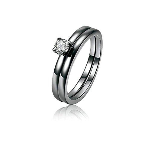 Beydodo Frauen-Ringe Vergoldet Schwarz 2 Ringe mit Rund Kristall Weiß Verlobung Ringe Ehering Damenringe Schwarz Gr. 54 (17.2)