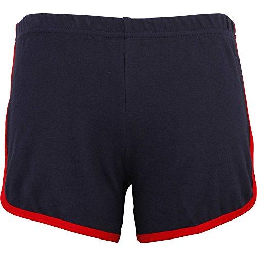 American Apparel Womens/Ladies Interlock 100% Cotton Running Shorts Navy / Red