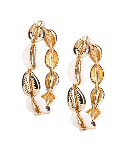 Statement-Ohrring, große Creolen mit goldenen und beigen Muscheln besetzt (787-390) ()