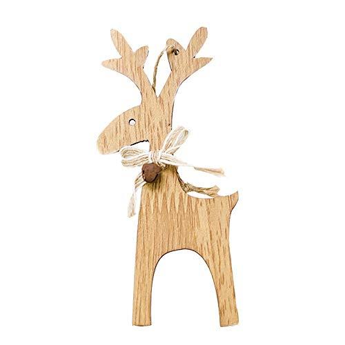 Qiusa 1 STÜCKE Weihnachtsschmuck, Deer Holz Ornament Weihnachtsbaum Anhänger DIY Ornamente Handwerk Geschenke Für Weihnachtsfeier