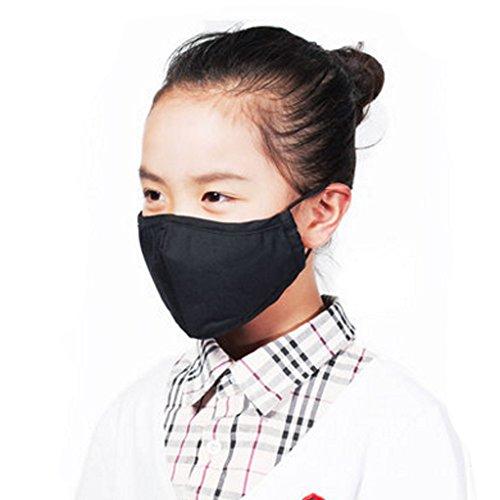 Kinder PM2.5 Antibakteriell Filtering Earloop Gesicht Mund-Maske, Schwarz
