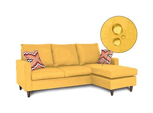 Stoa Paris HUGOSOFALYELLOW511LSL2S Four Seater Sofa (Light Yellow)