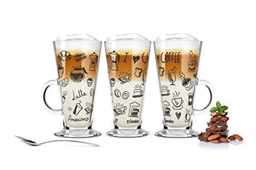 Sendez 6 Latte Macchiato Gläser Kaffeegläser Teegläser mit schwarzem Kaffee-Aufdruck