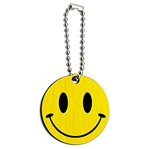Smile Smiley Face Wood Wooden Round Key Chain