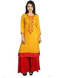 Prateek Exports Women's Cotton Rayon Embroidered Printed Long Straight Kurti Kurta