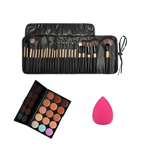 Susenstone 15 Couleurs de Palette Correcteur + Éponge Puff + 24PCs Cosmétiques Maquillage Pinceaux