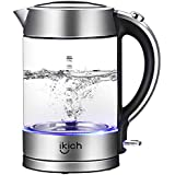 iKich Illuminated Glass Electric Kettle, 1.7L Eco Water Kettle with Auto Shut-Off & Boil-Dry Protection, BPA-Free Cordless Hot Water Boiler, Quiet Fast Boil, 2200W