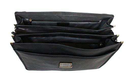 Katana Schul/Akten-Tasche Rindsleder K31033 Schwarz - schwarz