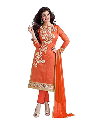 Belleza Orange Chanderi Cotton Straight Embroidery Craft Salwar Suite Dress Material