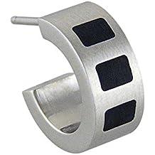 Reloj para hombre Matt acero inoxidable especiales para pendiente para el aro con esmalte negro Función de cuadrado