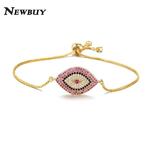 er,Trendy Auge Armband Pave Blau Auge Gold Kette Armband Einstellbare Weibliche Partei Schmuck ()