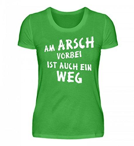 Shirtee Hochwertiges Damenshirt - Am Arsch Vorbei ist Auch ein Weg - Lustiger Spruch Weiss (T-shirt Weißes Arsch)