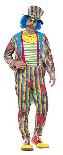 Smiffys Herren Deluxe Flickarbeiter Clown Kostüm, Jacke, Hose, Schlips und Hut mit Haaren, Größe: L, ()