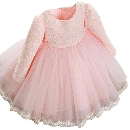 Huhu833 Kinder Baby Mädchen Langarm Prinzessin Kleid Spitze Blume Pageant Hochzeit Kleider Kleid (Rosa, 12M-80CM)