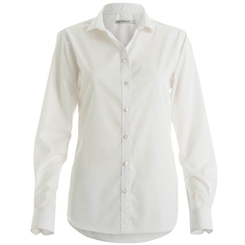Kustom Kit Camicia No Stiro Manica Lunga - Donna Bianco