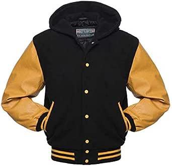 Warrior Gears® Classic Hybrid Varsity Jacket University Letterman Bomber Jacket- Black Pure Wool Body & Gold/Yellow Real Leather Sleeves