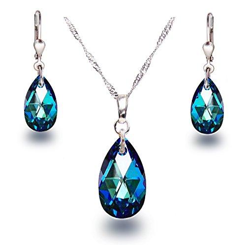 Schöner SD Schmuckset 925 Silber Rhodium Swarovski® Kristall Tropfen Bermuda Blue blau -