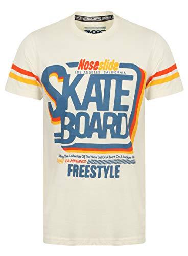 Tampered Apparels Herren Crew Neck Cotton Skate Board Bedrucktes T-Shirt Groß, Casual T-Shirts für Männer, Herren T-Shirt, Halbarm T-Shirt für Männer, Baumwolle Freizeitkleidung Regular Fit Ecru (Männer T-shirts Für Skateboard)