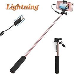 ROCK Perche Selfie pour iPhone 7 Plus Selfie Stick Selfie Bâton avec iPhone Lightning Connecteur et Gros Miroir [24,5CM à 90CM] pour iPhone 8 7 6s 6 Plus et iPhone 5 - Rose