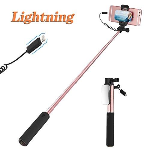 ROCK iPhone 7 Plus Selfie Stick Großer Spiegel Ausfahrbar Selfie Stange [iPhone Lightning Stecker] für iPhone 8 7 6s 6 Plus und iPhone 5s 5 (Rosa)
