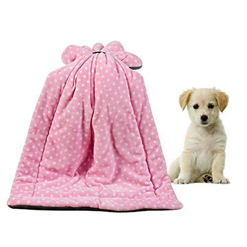 AOLVO Haustier-Decke, Überwurfdecke mit kuschelig warmem Premium-Fleece, Haustier-Schlafmatte für kleine mittelgroße große Hunde Welpen Katzen (Rosa, S) -