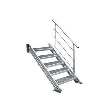 Alu-Profilholm-Treppe COLORADO für Außen, mit Gitterroststufen 1000mm breit, 6 Steigungen