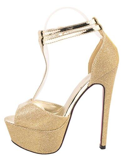 Elara Plateau Pumps | Party Stiletto High Heels | T-Strap Riemchen Glitzer Gold