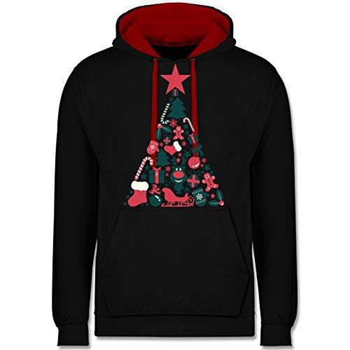 Weihnachten & Silvester - Weihnachtsbaum Collage - M - Schwarz/Rot - JH003 - Kontrast Hoodie