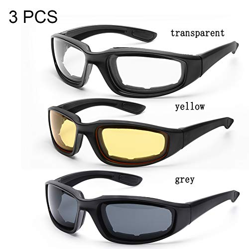 3 Paar Motorrad Reitbrillen, 3 Paar Sonnenbrillen Radfahren Brillen Outdoor-Sport Fahrradbrille Winddichte Brille