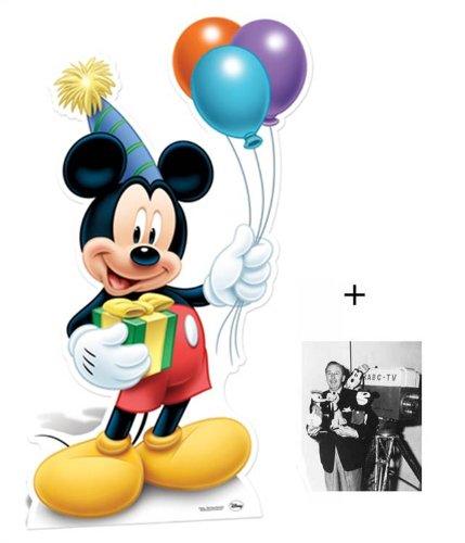 Fanbündel - Mickey Mouse holiding party balloons Lebensgrosse Pappfiguren / Stehplatzinhaber / Aufsteller - Enthält 8X10 (25X20Cm) starfoto -