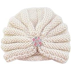 Bonnet Bébé, Mamum Enfants bébé filles tricot chapeau bonnet turban tête Wrap Cap bouchon de pile (Beige)