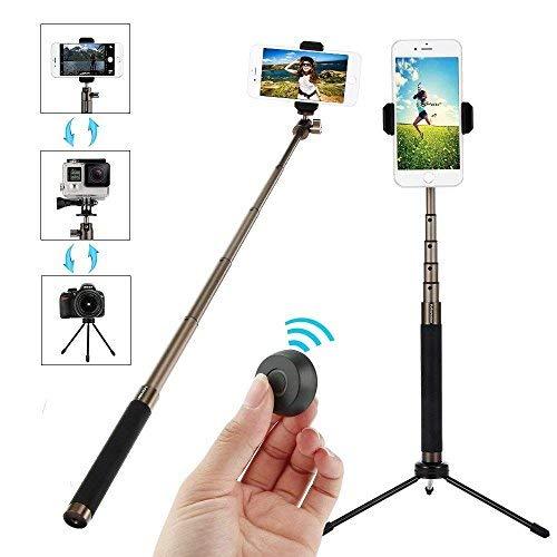 Palo Selfie Trípode 3 en 1 con Bluetooth Control Remoto y Dos Adaptador,Selfie para Movil Extensible 19-72cm 360° Rotación Tripode Aluminio para Teléfono Inteligente,Cámara,DSLR,Cámaras Deportivos