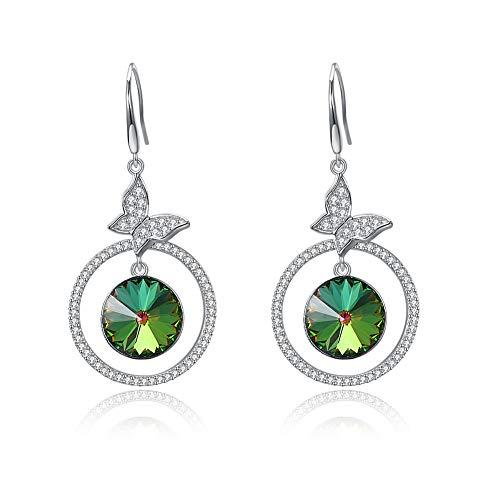 WANZIJING Damen Ohrringe, 925 Sterling Silber Earwire Exquisite Schmetterling übertrieben Amethyst Ohrringe,Green - Dangle Ohrringe Amethyst