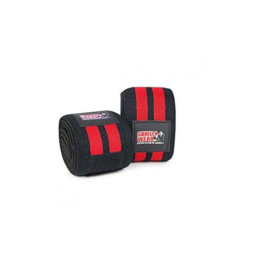 Gorilla Wear Knee Wraps 98 Inch - schwarz/rot - Bodybuilding und Fitness Accessoire - Bodybuilding-knee Wraps