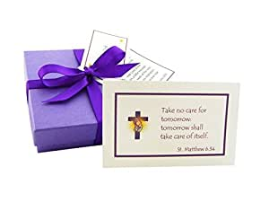Christian Gift For Him Or Her. Weekly Wisdom - 52 Inspirational Bible Quote Cards With Seven Mini Chocolate Balls. Gift Boxed With Poem And Personalized Tag.
