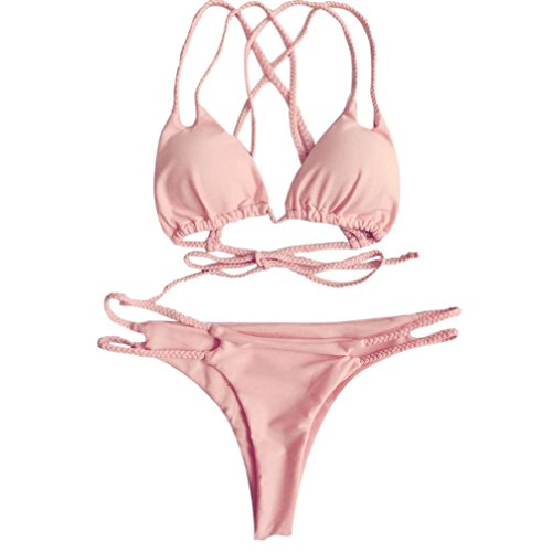 Bademode FORH Push Up Gepolsterter Bikini Set Brasilianischer Stil Swimwear Split Badeanzug Versuchung Cross Straps Schwimmanzug Damen Neckholder Oberteil +Slip Strand Badeanzug (S, Rosa)