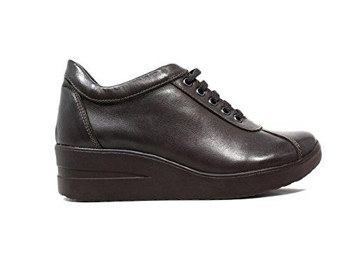 Only I sneakers donna zeppa media pelle marrone nuova collezione autunno inverno 2016 2022