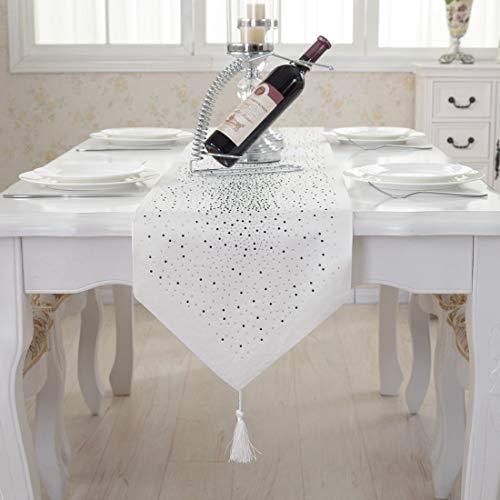 Luxus Diamant hellen Stern weiß Damast Seidenquaste Hause dekorative Tischläufer 33cm x 210cm