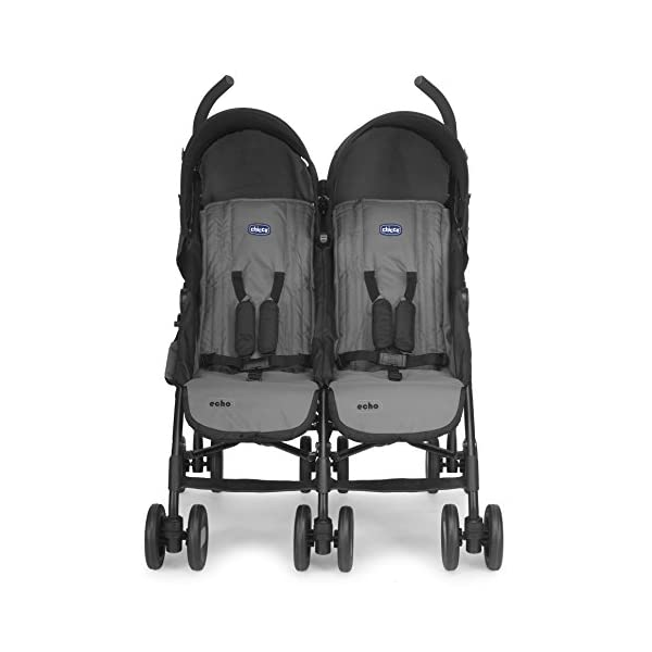 Chicco Echo Twin Stroller Coal - Black  With elliptical frame tubes in contemporary angles Features elegant stay clean wheels with repeat logo details to match name seat graphic Lockable front swivel wheels 5