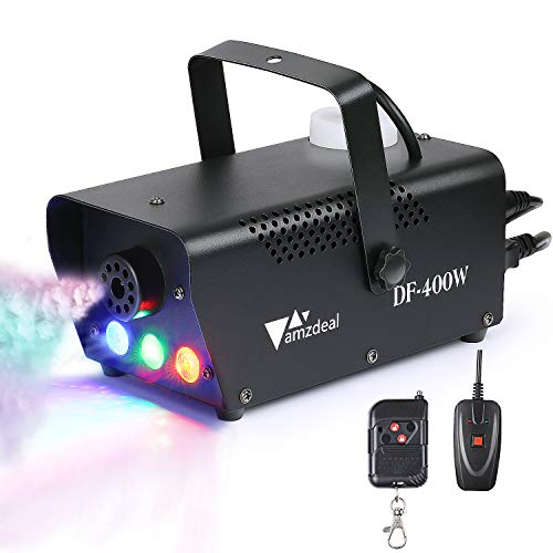 Nebelmaschine, Amzdeal Rauchmaschine eine tragbare Nebelmaschine mit LED, mit verdrahteten und drahtlosen Fernbedienung für Haus, Partei, Weihnachten, Halloween, und Hochzeit (400W)