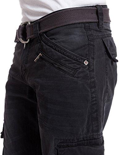 Timezone Herren Relaxed Hose BenitoTZ cargo pants incl. belt Schwarz (caviar black 9151)