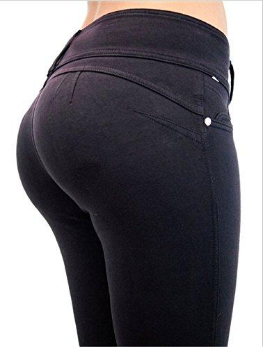 Darrin Frauen Sexy Slim war dünne Hüfthose Hohe Taille Freizeit Große Elastizität (L, Schwarz)