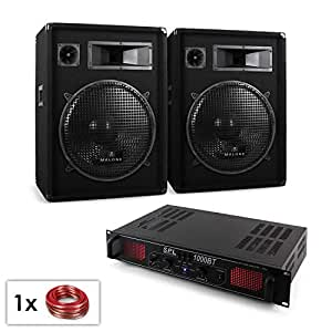 dj pa set malone bluetooth spl pa anlage mit boxen verst rker 1000w 3 wege lautsprecher. Black Bedroom Furniture Sets. Home Design Ideas